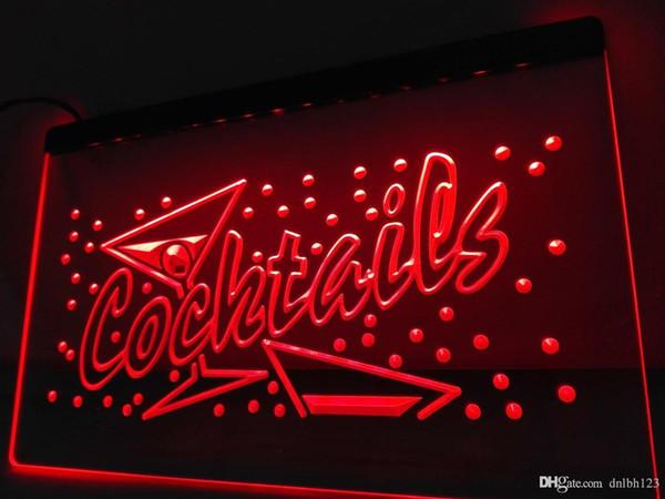 LB112- OPEN Cocktails Bar Pub Club LED Neon Light Sign
