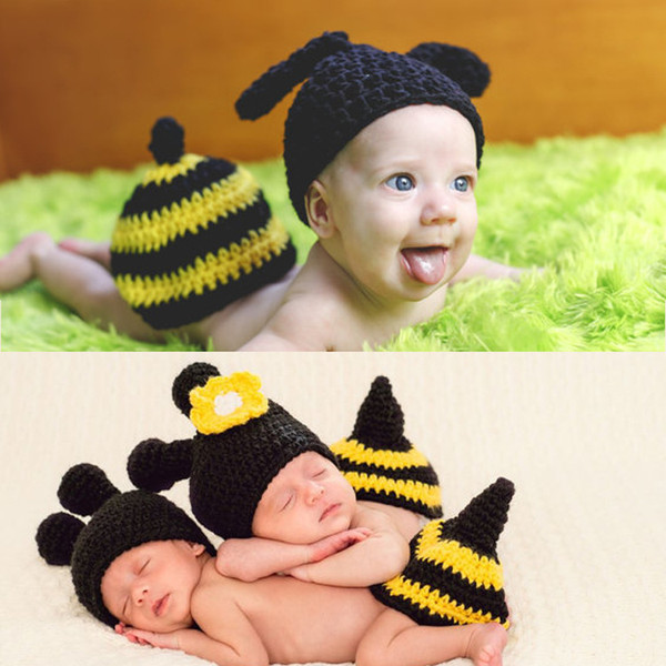Newborn Photography Props Baby Bee Clothes Caps Costume Crochet Outfits Cotton Hat Animals Set for 0-3 Months Baby
