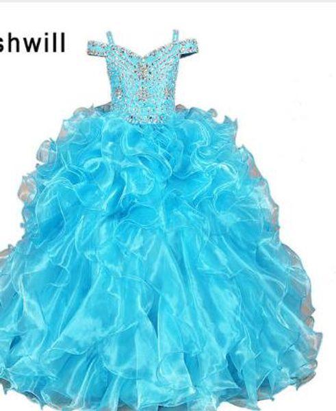 Blue Color Ball Gown Beads Flower Girl Dresses Floor Length Corest Back First Communion Dresses For Girls Kids Prom Dress