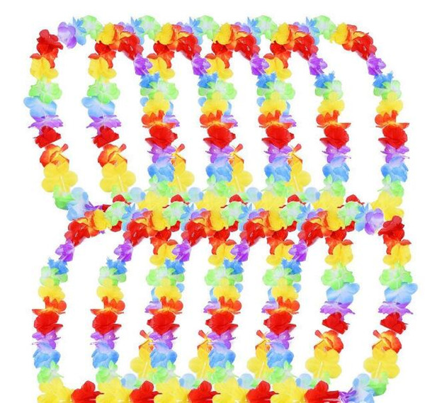 500pcs/lot Hawaiina leis Party Supplies Garland Necklace Colorful Fancy Dress Party Hawaii Beach Fun