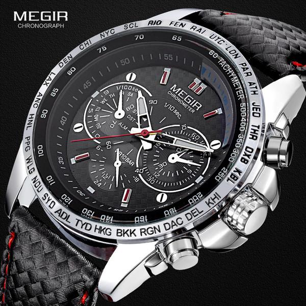 Chrongraph Cadran Décoratif Cadran Quartz Montres En Cuir Bracelet Sport Armée Montre Horloge Homme Relogios Masculino 1010 Noir