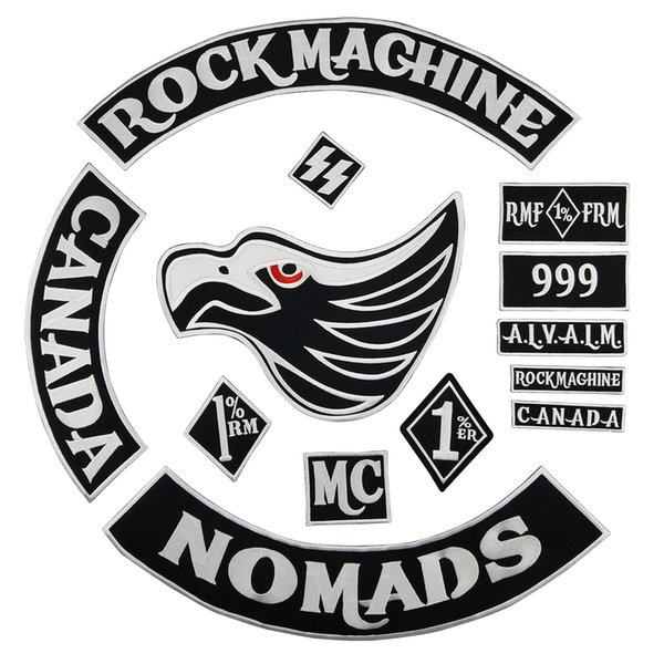 Original Rock Machine Embroidery Motorcycle club Patch MC Embroidered Full Back Large Pattern For Rocker Club Biker Patch Free Shipping