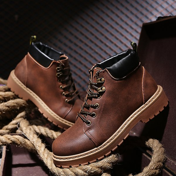 Men's Autumn Winter Waterproof Work Safety Boots High Heel PU Leather Fashion Ankle Boots Western Martin Cowboy Boots EUR39-44