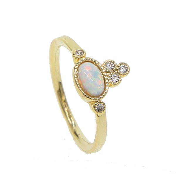 Gold color white cz agg shape GEM white fire opal delicate women multi piece stack top quality stunning opal stone ring