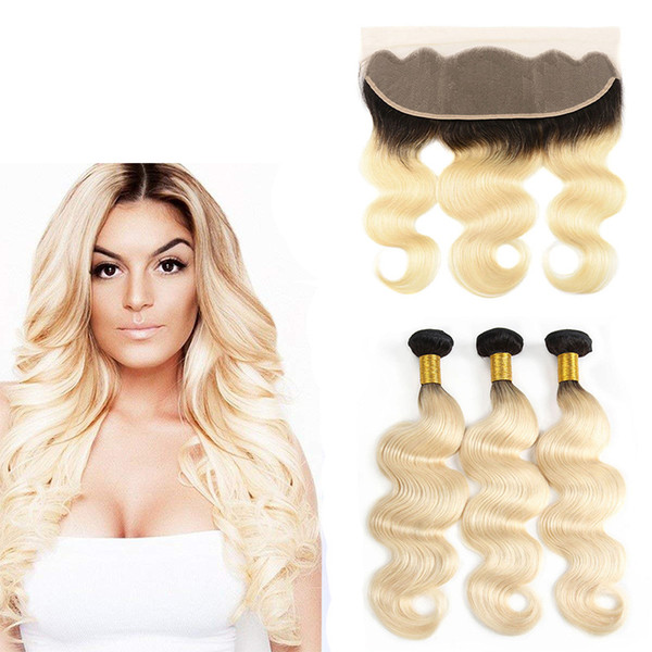 Brazilian Remy Hair Bundles With 13x4 Lace Frontal Closure 1B/613# Ombre Honey Bonde Body Wave Human Hair Weave With Full Frontal