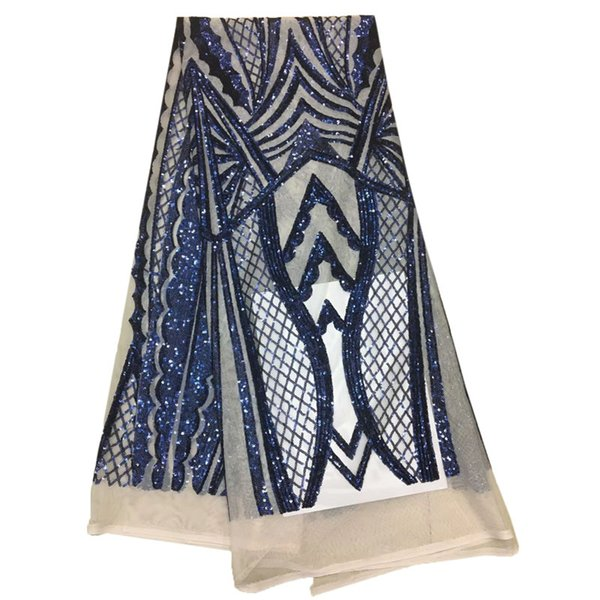 Blue top quality Big African tulle lace french net lace fabric for aso ebi Lots of shining sequins HJ994-1
