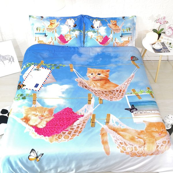 3pcs lifelike kittens duvet cover set for kids single full queen super king size bedding sets girls adults cat print sheets