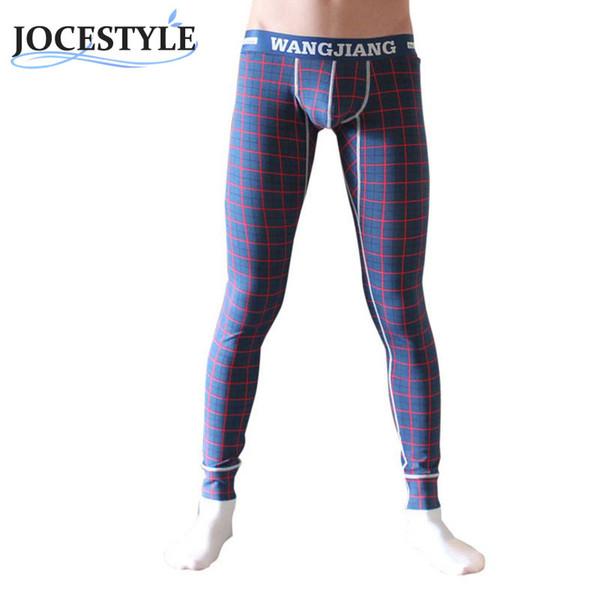 Sexy Men's Leggings Pants Underwear Long Pants Printing Blue plaid Thermal Bottom Cotton Warm Leggings Underwear
