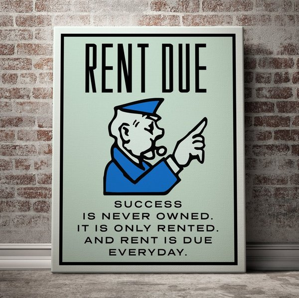 "top popular Unframed Alec Monopoly ""RENT DUE"",HD Canvas Print home decor wall art painting,office art culture 2019"