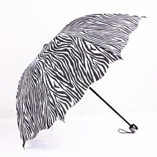 3 Fold Sun Rain Umbrellas Zebra Leopard Design Black Coating Sunny and Rainy Protect Umbrella For Woman Female Girls
