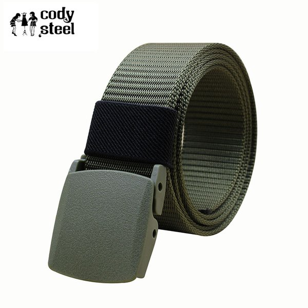 Cody Steel Plastic Buckle Man Belts Canvas Casual Men Brand Belts Solid Color Practical Male Simple 110CM,120CM