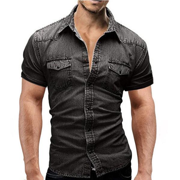 buy online 255e3 573a2 Acquista Camicia Di Jeans 2018 Nuove Maniche Corte Uomo Camisa Sociale  Masculina Slim Fit T Shirt Moda Casual Camicie Uomo Solido A $35.56 Dal  Xaviere ...
