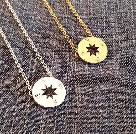 5PCS Gold Silver Small Compass Necklaces Pendant Charm for Women Men South Direction Necklace Disc Circle Disk Necklaces Coin Jewelry
