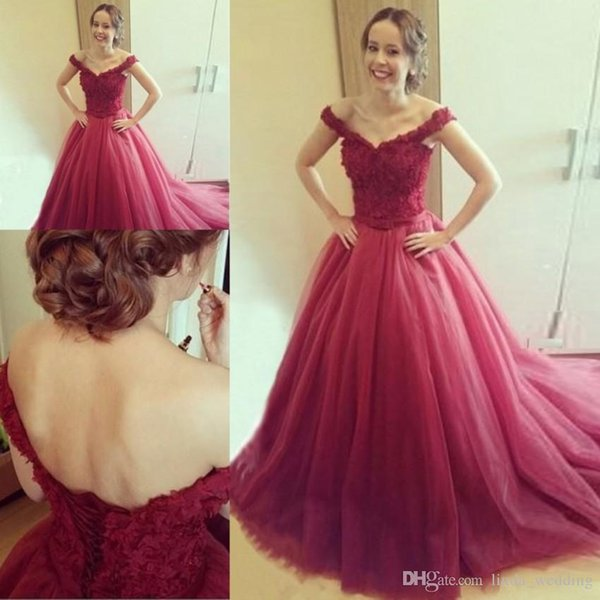 2019 Burgundy Prom Dress Off Shoulder Sleeveless Formal Pageant Holidays Wear Graduation Evening Party Gown Custom Made Plus Size
