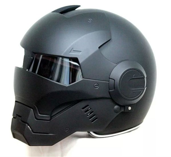 2016 Top hot Black MASEI IRONMAN Iron Man helmet motorcycle helmet half open face casque motocross 610 SIZE:M L XL