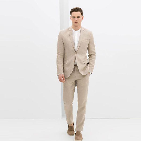 Beige Slim Fit Linen Wedding Men Suits Groom Tuxedos 2 Pieces (Jacket+Pants) Birdegroom Sets Best Man Blazer