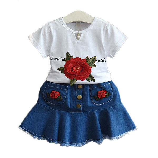 New fashion summer girls embroidery flower white t denim skirt set two-piece girls clothing sets free shipping