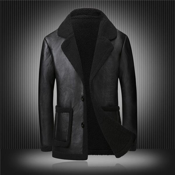 Famous Designer US Knight Wool Coats 2018 Winter Men Leather Jacket Fleece Zipper Men Faux Motorcycle Leather Big Size M-4XL