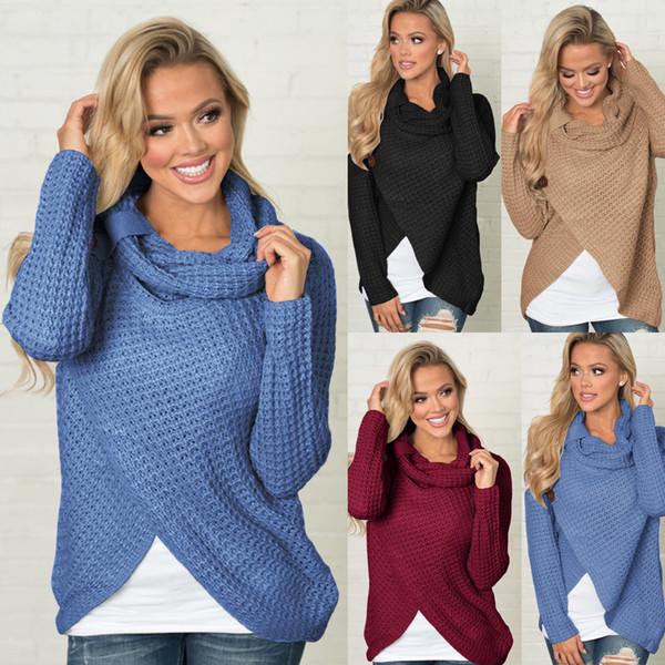 Casual Feminino Grosso Tricô Cardigan Pescoço Irregular Tops Botões Streetwear Mulheres Solider Camisola Cor Venda Quente