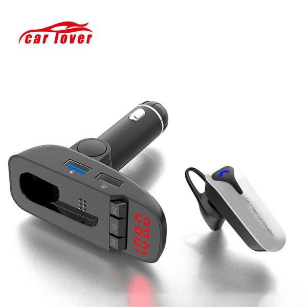 Car Radio FM Transmier Earphone Bluetooth Modulator Handsfree Car MP3 Player Dual USB Flash Drive SD Card USB Charger Aux