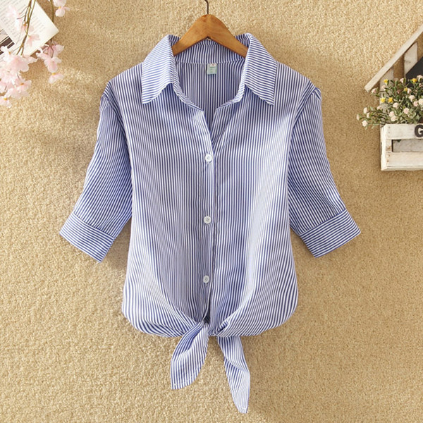 Women Striped T Shirt Short Sleeve 2018 New Summer Casual Tshirt Blue White Kimono Tops Tee Women Clothing Plus Size 4XL Bow H10