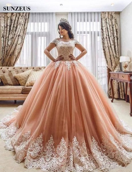 Coral Sweet 16 Dresses 2019 Cap Sleeve Lace Applique Tulle Ball Gown Cheap Quinceanera Dress Vestido De 15 Anos Prom Formal Evening Wear