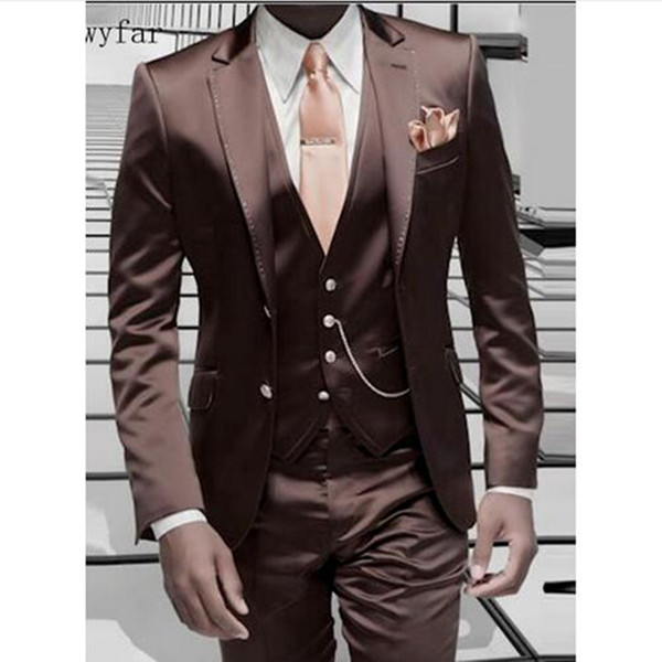 Brown Men Suit For Wedding 2018 Cheap Formal Wedding Tuxedo Custom made Prom Party Suits (Jacket+Pants+Vest)