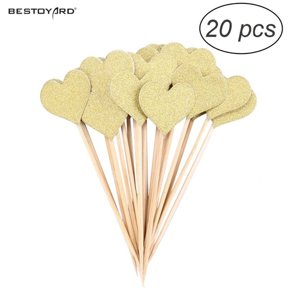 Gold Glitter Heart Cupcake Cake Toppers Pick Wedding Bridal Cake Toppers Birthday Party Favors Cake Decorations