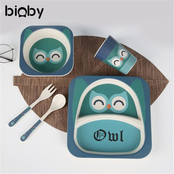 5Pcs Children Bamboo Fiber Tableware Cartoon Animal Baby Dishes Set Kids Baby Feeding Bowl Fork Spoons Cup Plate Dining Tools