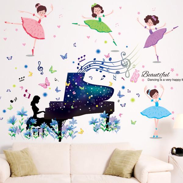 [SHIJUEHEZI] Ballet Dancers Wall Stickers Vinyl DIY Cartoon Piano Player for Girls Room Kindergarten Dancing Studio Decoration