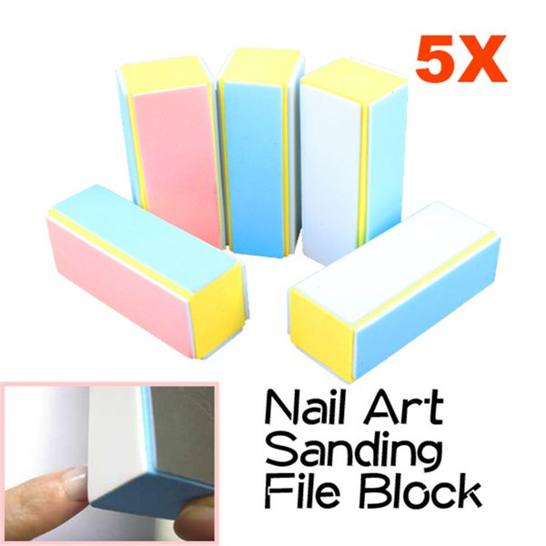 5 Pcs/Lot Sanding Nail File Buffer Block Nail Art Tools Manicure Pedicure Nails Buffers for UV Gel Polish