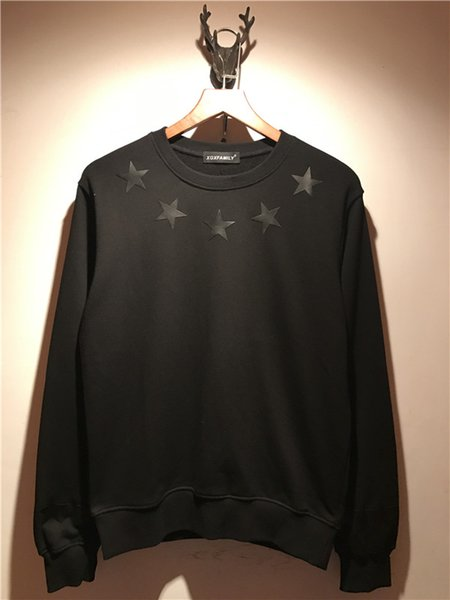 2018 hot sell New brand men fashion jacket men Long sleeve Casual sports sweatshirt black leather Pentagram printing pullover coat