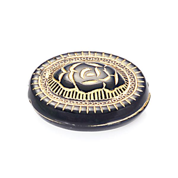 50 pcs Plat Ovale Rose Motif Sculpture En Plastique Lâche Perles Or Doublé Entretoise Charme Antique Design Perles Pour DIY Fabrication de Bijoux