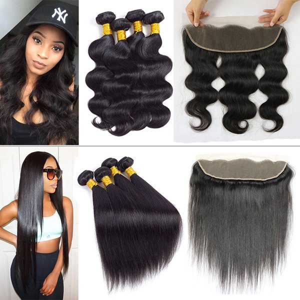 Peruvian Hair Body Wave Straight Frontal with Bundles Brazilian Virgin Body Wave Human Hair Weave 4 Bundles with Ear to Ear Lace Closure