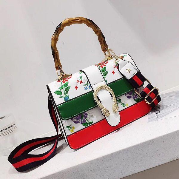Lüks Çiçek yılan işlemeli çanta çanta tasarımcısı kadın ünlü marka Seyahat Flap Kız kılıfı bambu alışveriş crossbody çanta