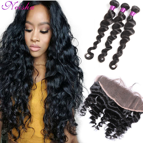 3 Bundles of Loose Deep Wave Hair Weave With Pre Plucked 13x4 Lace Frontal 7A Grade Brazilian Peruvian Malaysian Hair With Frontal Closure