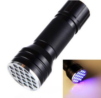 UV Ultra Violet Blacklight 21 LED Flashlight Torch Lamp Light UV 395 nM takes Standard AAA Batteries(not include)