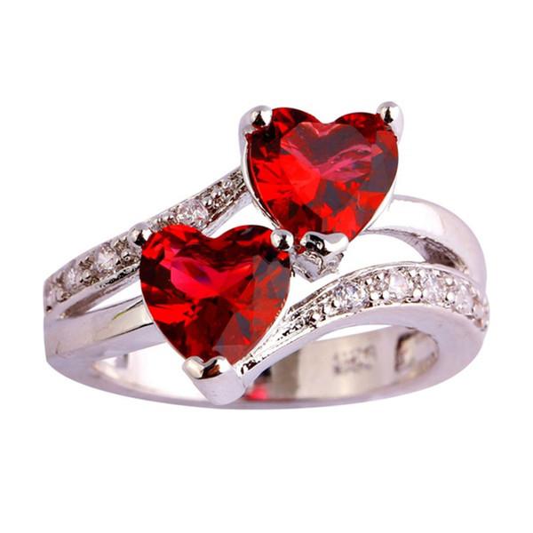 Women's Double Heart Rings Shinning Red Love Heart Rhinestones Wedding Rings for Women Girl Female Gift