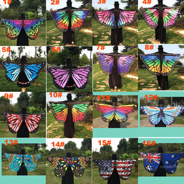 top popular Women Scarf Pashmina Butterfly Wing Cape Peacock Shawl Wrap Gifts Cute Novelty Print Scarves Pashminas 18 colors 2021