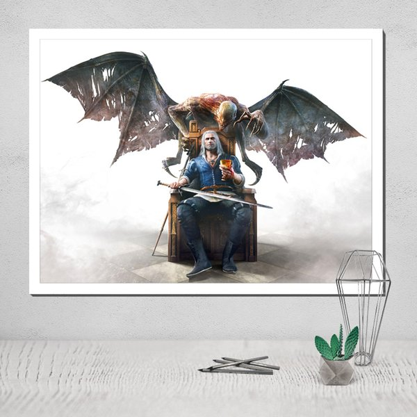 Canvas Poster Witcher Painting Light Pad A4 Modular In Wall Paintings Tableau Coloring Cuadros Decoracion Nordic Pop