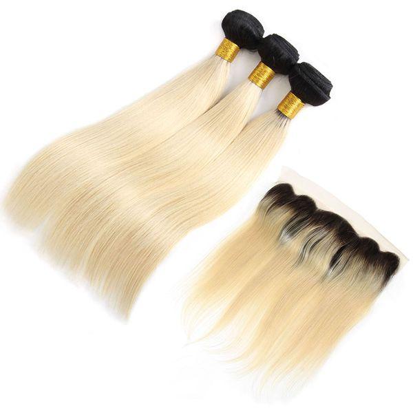 Paquetes de 1B 613 con frontales brasileños rectos del pelo de la Virgen paquetes con los cierres Extensiones del pelo humano Remy de la onda del cuerpo tramas teje al por mayor