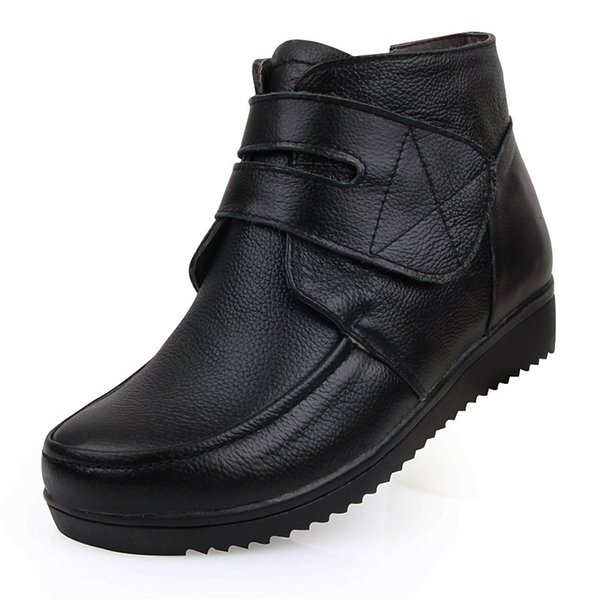 ZXRYXGS Brand Boots Warm Comfort Thick Wool Women Shoes Snow Boots 2018 New Winter Women Flat Real Leather Black