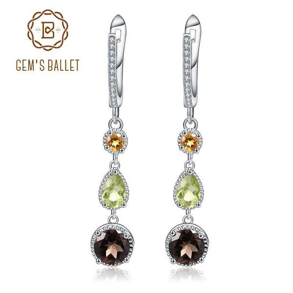 2657c3ee83cb Gem S балет 925 стерлингового серебра серьги ювелирные изделия природный  цитрин перидот дымчатый кварц серьги для женщин