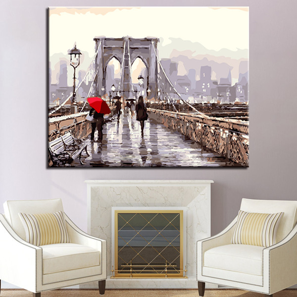 DIY Oil Painting By Numbers Coloring Pedestrians On The Bridge Scenery Pictures Drawing On Canvas Home Decor Wall Art Framework