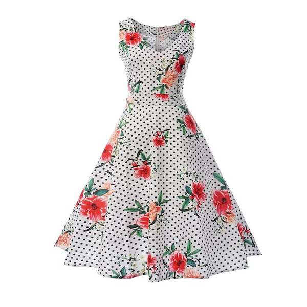Womail 2018 New Arrival Summer Women Dot Printing Bodycon Sleeveless Casual Evening Party Prom Swing Dress Sundresses 25.JULY.22