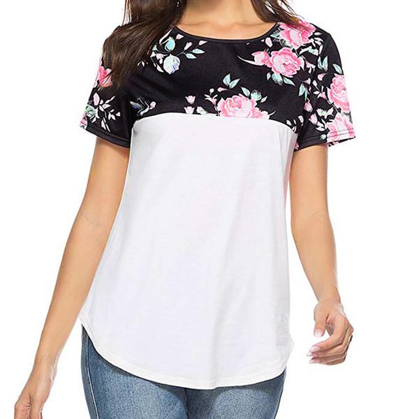 fashionable women's t-shirts Casual Floral Printing Short Sleeve female T-shirt Tunics tshirt Tops 2018 women street wear chemis