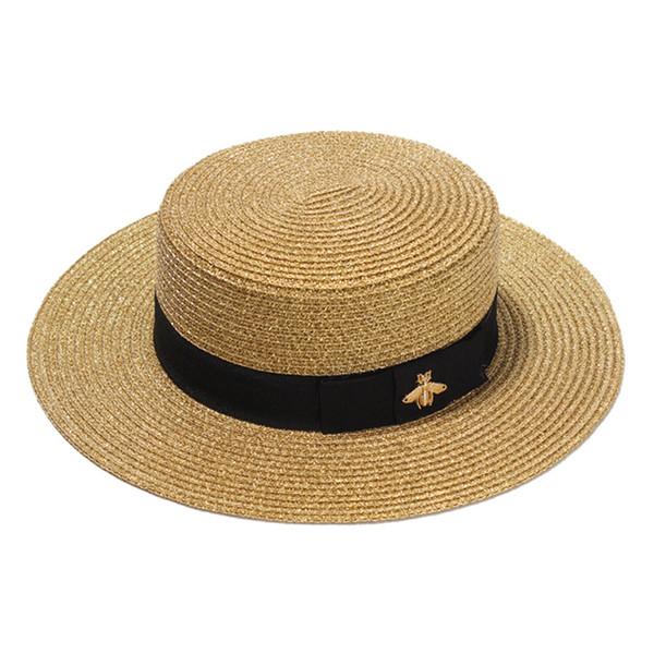 Sombrero de paja tejido dorado retro europeo y americano sombrilla plana sombrero de protección solar protector de viaje plegable sombrero de paja
