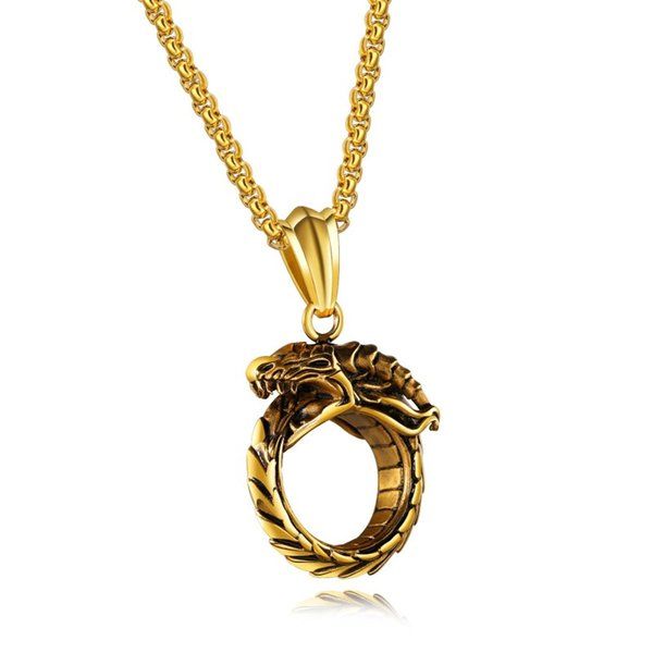 Free Shipping Stainless Steel Jewelry Vintage Zodiac Live Dragon Pendant Titanium Steel Biting Dragon Eternal Ring Necklace