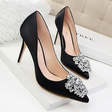 emerald grey pink black color fashion new style diamond silk high heel pointed toe buckle wedding pricess shoes 485