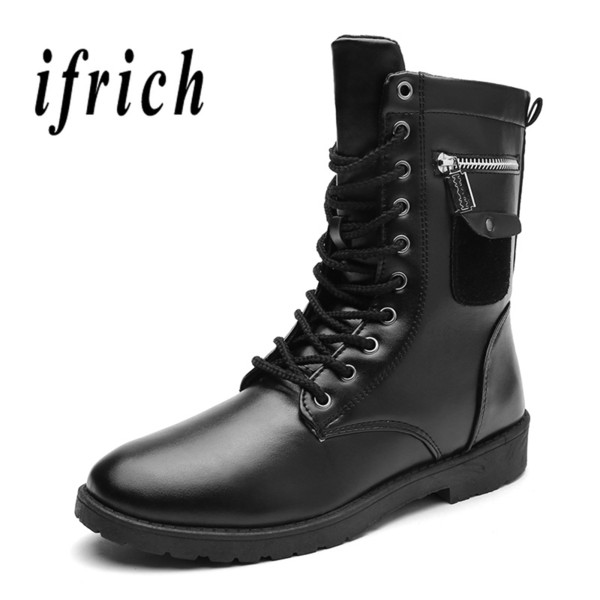 New Mens Motorcycle Boots Anti-Slip Work Boots Male Hard-Wearing Men Youth Casual Footwear Designer Black Martens For Men
